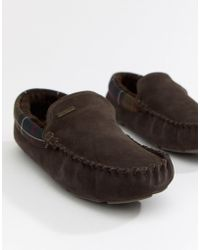 Barbour - Monty Faux Fur Lined Slippers In Brown - Lyst