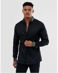 River Island Рубашка С Анималистичным Кантом -черный