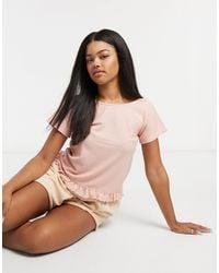 ASOS – Mix & Match – Pyjama-T-Shirt mit Waffelmuster und Rüschensaum - Mehrfarbig