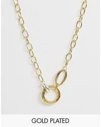 ASOS Premium Gold Plated Necklace With Interlocking Coloured Link - Metallic