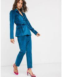 Fashion Union Бархатные Брюки Классического Кроя -синий