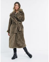 ASOS Бежевое Пальто В Стиле Oversized Из Искусственного Меха С Поясом - Многоцветный