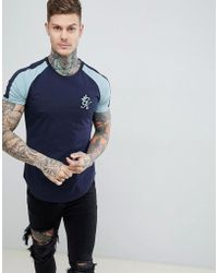 12543808 Gym King - Long Line Retro Tee In Navy Nights / Mirage Blue - Lyst