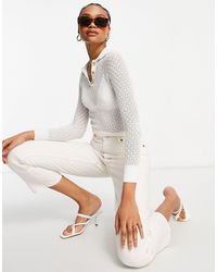 Fashion Union Knitted Sheer Crochet Sweater With Natural Buttons - White