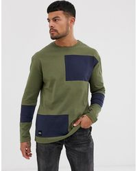 Native Youth Long Sleeve Top In Khaki With Abstract Color Blocking In Navy - Green