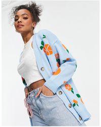 ASOS Cardigan With Fruit Pattern - Blue