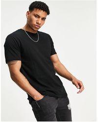 TOPMAN T-shirt taglio lungo nera - Nero
