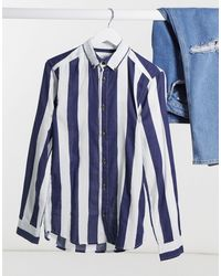 Only & Sons Long Sleeve Bold Stripe Twill Shirt - Blue