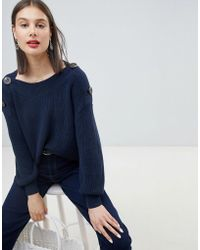 Esprit - Button Detail Oversized Chunky Jumper - Lyst