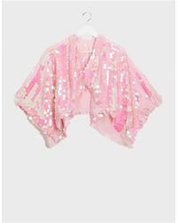ASOS Holographic Sequin Cape - Pink