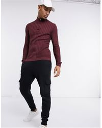 ASOS Muscle Fit Cable Half Zip Jumper - Red