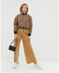 ASOS - Knitted Wide Leg Trouser With Deep Rib - Lyst