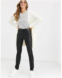 Vero Moda – Hose aus Kunstleder - Schwarz