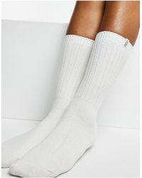 UGG Rib Knit Slouchy Crew Socks - White