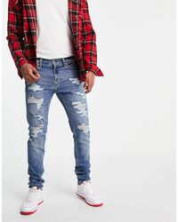 Hollister Distressed Skinny Fit Jeans - Grey