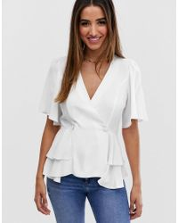 ASOS Tux Top With Angel Sleeve And Button Detail - White