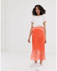 ASOS Bias Cut Satin Midi Slip Skirt With Lace Hem - Orange