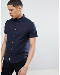 Original Penguin - Short Sleeve Slim Fit Oxford Shirt With Button Down Collar In Navy - Lyst