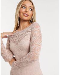 AX Paris Bardot Midi-jurk Met Kant - Meerkleurig