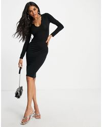 I Saw It First Long-sleeved Notch Front Midi Dress - Black