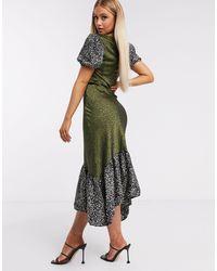 UNIQUE21 Drop Hem Ruffle Midi Dress - Green