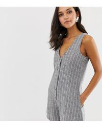 Native Youth Playsuit In Chambray Stripe - Gray