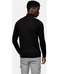 TOPMAN Organic Knitted Turtleneck Jumper With Zip - Black