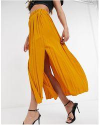 TOPSHOP Plated Midi Skirt - Yellow
