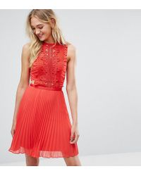 ASOS - Lace Pinafore Pleated Mini Dress - Lyst