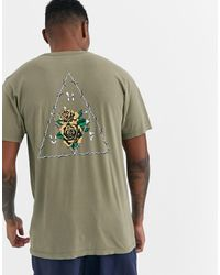 Huf - Dystopia Triple Triangle T-shirt With Floral Back Print In Khaki - Lyst