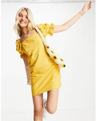 Skylar Rose Square Neck Gingham Mini Dress With Gathered Sleeves - Yellow