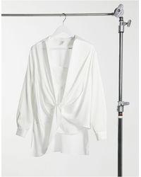 River Island Белая Атласная Рубашка С Перекрученной Отделкой -белый