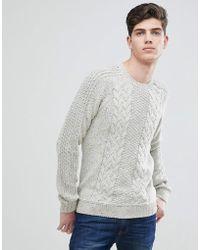 Mango Man Fleck Cable Knit Sweater In Ecru Marl - Gray