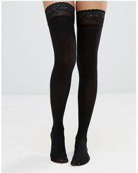 ASOS 50 Denier Lace Top Hold Ups - Black