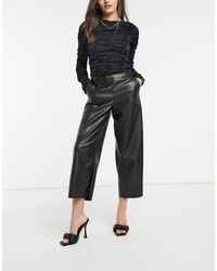 Vila Leather Look Cropped Trousers - Black