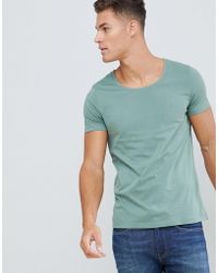 ASOS - T-shirt With Scoop Neck In Green - Lyst