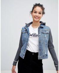 Hollister - Denim Jacket With Jersey Internal - Lyst