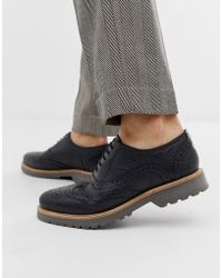 Ben Sherman Leather Brogue Shoe In Black