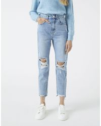 Pull&Bear Mom Jeans With Rips - Blue