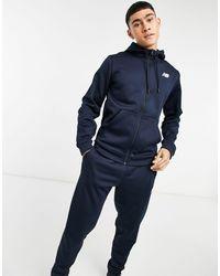 New Balance Fleece Zip Thru Hoodie With Logo - Blue