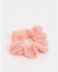 Pieces Scrunchie Met Visnet - Roze