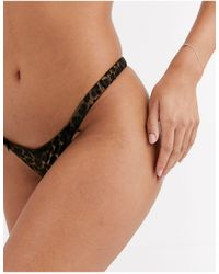 ASOS Mia Ruched Tanga Thong With Satin Animal Print & Lace - Multicolour