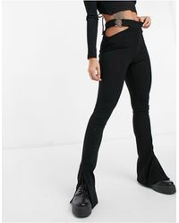 Bershka Side Cut Out Flare Trousers - Black
