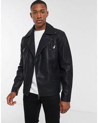 New Look Biker Jacket With Zip Detail - Black