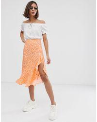 Bershka Ditsy Floral Asymmetric Skirt - Orange