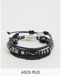 ASOS Plus – Armbänder aus Leder und mit geflochtenem Design - Schwarz
