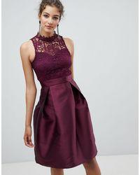 AX Paris - Короткое Приталенное Платье С Кружевом -фиолетовый - Lyst