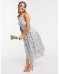 Oasis Bridesmaid Lace Skater Dress - Gray