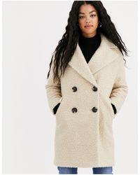 Miss Selfridge Длинное Пальто Кремового Цвета С Плюшевой Текстурой -белый - Многоцветный