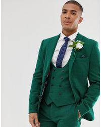 Chaqueta de ultra delgada traje boda verde sarga en de LUGpqSMVz